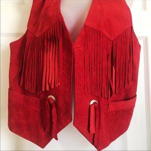 Springwest Red western fringed vest